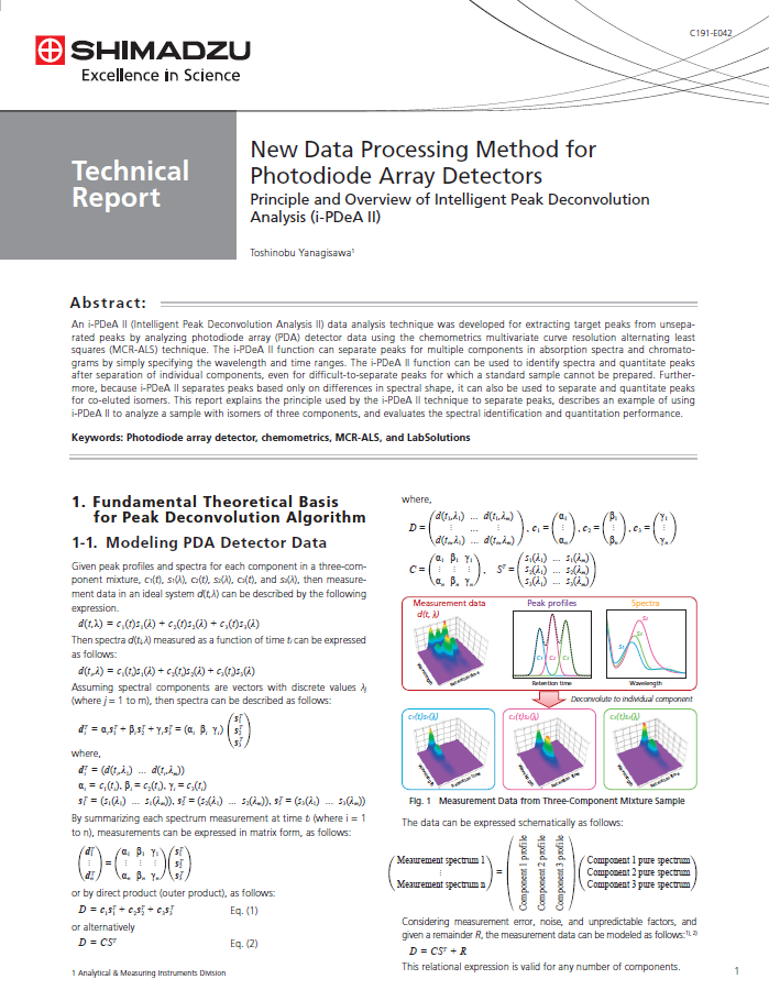 Technical Report - New Data Processing Method for Photodiode Array Detectors - Principle and Overview of Intelligent Peak Deconvolution Analysis (i-PDeA II)
